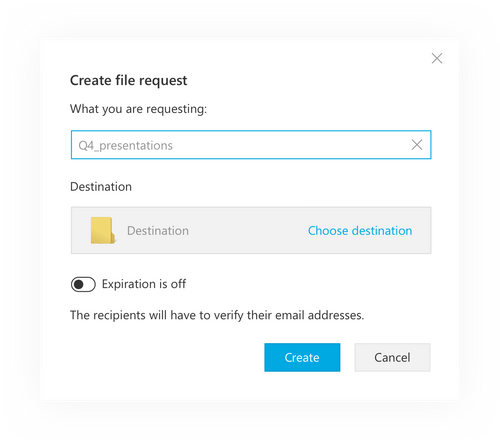 Request files from clients without a Tresorit account