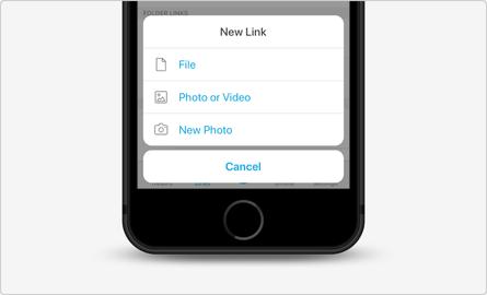 Links-Tab in der Mobile-App & Andere Uploads Tresor