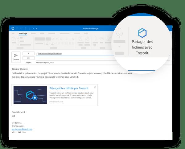 Tresorit pour Outlook et Gmail