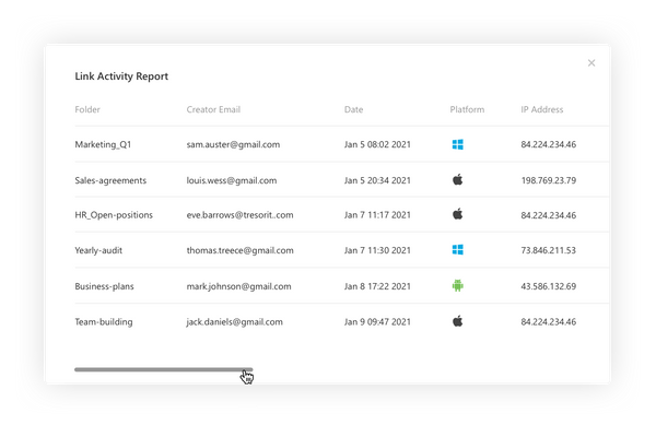 Link activity reports