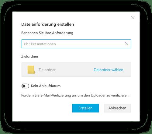 Fordern Sie Dateien von Klienten ohne Tresorit-Konto an